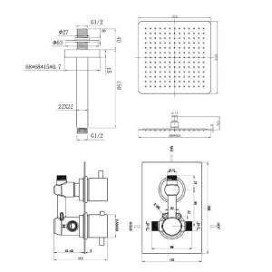 "Square 12"" Ceiling Mixer Shower Ultra Thin Head Thermostatic Valve Set Chrome Bathroom"