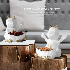 Statue En Resin For Wedding Decoration Wall Storage Box For Candy Nut Geometric Lucky Cat Figurine Decorative Home Wall Decor