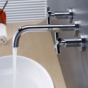 Stev Double Cross Handle Wall-Mount Brass Bathroom Sink Faucet Polished Chrome