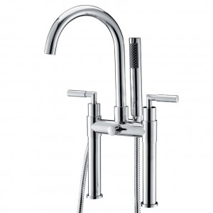 Stev Modern Dual-Handle Deck-Mount Chrome Clawfoot Tub Filler Faucet Hand Shower Included