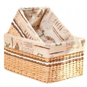 Storage box desktop straw rattan woven storage basket porch coffee table snacks debris storage basket fabric