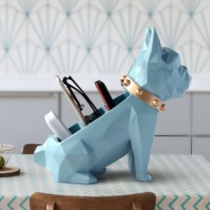 Storage box for home decor office Mobile phone tools control organizer Resin Dog statue figurine for tabletop Desktop holder