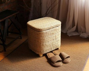 Storage Stool Rattan Wicker Ottoman Basket Shoe Cabinet Sofa Stool mall Shoe Store Footstool Multi-Function Storage Footrest