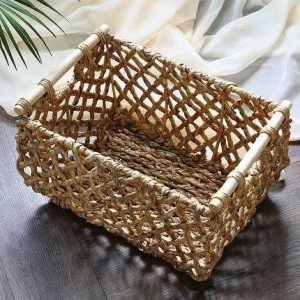 Straw hollowed out storage basket Book storage toy dirty clothes storage basket Storage box