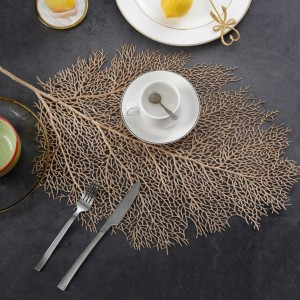 Stylish Leaf Placemat Hollow-Out Plastic Coral Twig On-Stick Oil & Waterproof Placemat in Gold Set of 2
