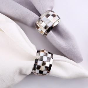 Stylish Minimalist Round Metal Napkin Rings Mother of Pearl Napkin Ring Holders Set of 4