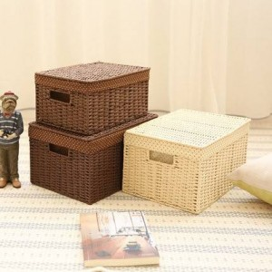 Surabilus straw weave storage small bedroom desktop storage box finishing box storage box book box covered