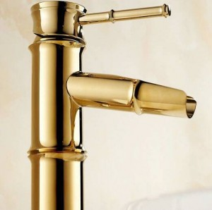 Tall gold color bamboo waterfall faucet crane bathroom tap 8026K