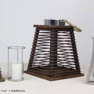 tapered vintage handcrafted wood framed rattan lantern candle holder