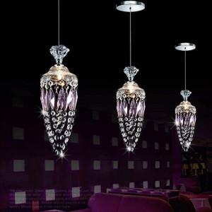 Teen's Bedroom Hanging purple crystal lighting for Dining room Restaurant Bar modern Wedding Decoration purple lamp Cristal G4