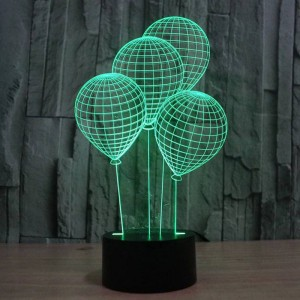 The balloon shape 3D night light with touch switch LED acrylic 7 colors auto change 3D illusion lamp for holiday deco table lamp