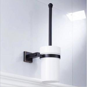 The new copper material black bronze square bathroom hardware pendant toilet brush clean toilet brush ceramic cup 9036K