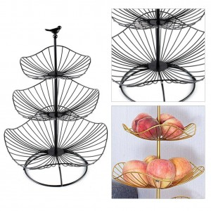 Three Layers Iron Art Fruit Storage Basket Home Organizer Bowl For Vegetable Snacks Candy Kitchen Table Dining Decoration Tool