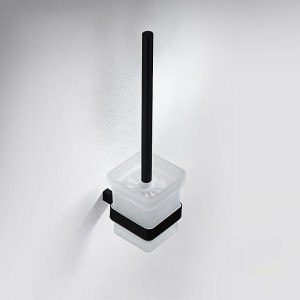 Tierney Modern Stainless Steel Wall Mounted Bathroom Toilet Brush Holder Combo Set in Matte Black