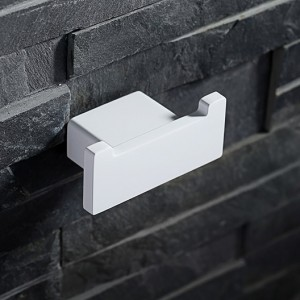 Tierney Modern Varnished White Square Double Hook Robe Hook Stainless Steel