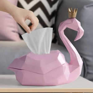 tissue box holder home decor storage box cover organizer luxury wedding resin Flamingo figurine for tabletop animal statue gift