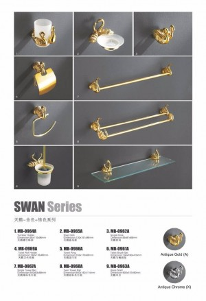 Toilet Brush Holder Gold Solid Brass Frosted Glass Cup Swan WC Borstel Clean Wall Bathroom Accessories Toilet Brush Set MB-0961A