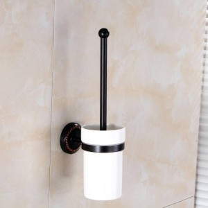 Toilet Brush Holders Ceramic Cup Antique Brass Toilet Bowl Brushes Home Deco Wall Bathroom Accessories WC Brush Holder 9149K