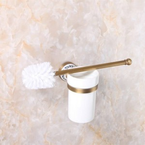 Toilet Brush Holders Luxury Antique Finish Toilet Brush Holder With Ceramic Cup Household Products Bathroom Decoration 9068K