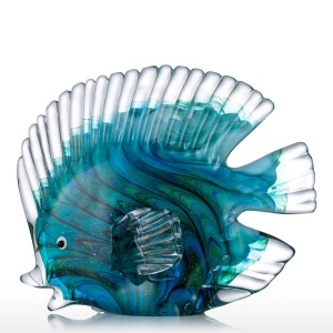 Blue Glass Statuettes Tropical Fish Figurine Home Decor Art Animal Artificial Craft Gift For Home Decoration Accessories