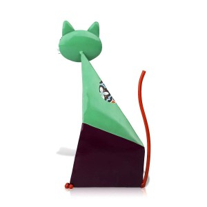 Fortune Cat Figurine Miniature Metal Animal Figurine Home Decoration Pastoral Colorful Art Statuette Craft Gift For Home