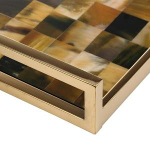 Rectangular Tray with Horn Stripes(Small Size) Wooden Piano Baking Varnish Technology Tea Tray Fruit Tray Coffee Tray