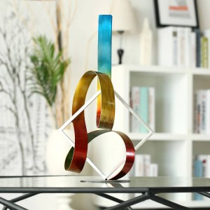Square and Ribbon Modern Abstract Sculpture home decoration accessories modern Figurine New Year Gift Christmas gift