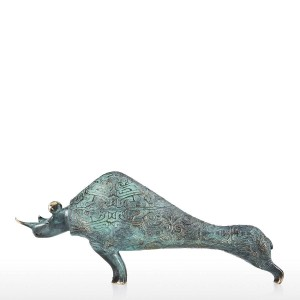 statue modern Rhinoceros Sculpture Handmade Bronze Statues Decorative Tabletop Rhinoceros Ideal Gift for Home Decoration