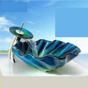 Toughened Glass Washbasin Podium Bathroom Abnormity Art Washbasin Basin Sanitary Ware glass bowl sink blue bathroom wash basin