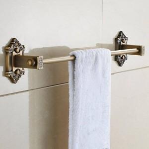 Towel Bars Single Rail Antique Solid Brass Wall Shelf Towel Rack Hanger Bath Shelves Bathroom Accessories Towel Holder LAD-71224