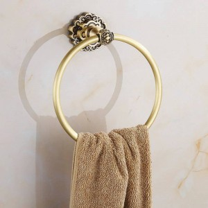 Towel Rings Art Carving Antique Brass Wall Mounted Bath Shelf Towel Rack Hanger Bathroom Fitting Home Deco Towel Holder 10707F