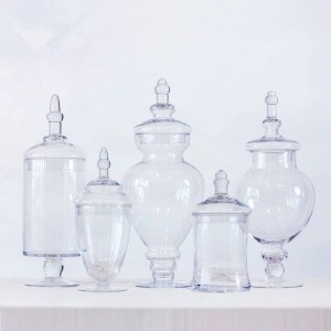 Transparent Candy jar party Dessert Storage Bottle Dinner Table Decorative High Striped Cover Storage Tank glass jars and lids