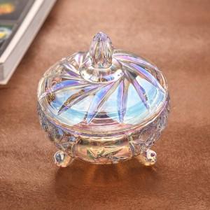 Transparent colorful crystal glass candy jar wedding candy jar storage dried fruit cans jewelry storage decorative utensils