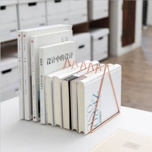 Triangular Metal Table Storage Shelf Rose Gold Nordic Desk Storage Basket Magazine Paper Documents Organizer Home Decor