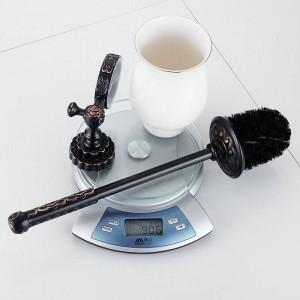 Twin Flowers Series Carving Black Brass Toilet Brush Holders Bathroom Accessories Cup Holder Toilet Vanity