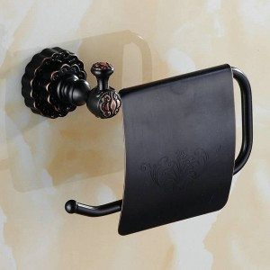 Twin Flowers Series Carving Black Brass Toilet Paper Holders Bathroom Accessories Paper Shelf Paper Rack