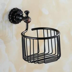 Twin Flowers Series Carving Brass Black Round Bathroom Basket Paper Holder Bathroom Accessories Toilet Vanity