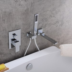 Ultramodern Chrome / Matte Black / Brushed Nickel Wall Mounted Swivel Tub Filler Faucet with Hand Shower Solid Brass