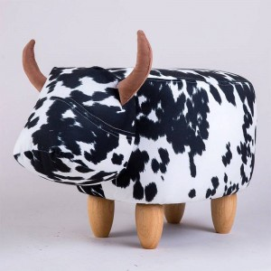 Upholstered Ride-On Animal Ottoman Footrest Stool Without Storage Perfect for Gift, Changing Shoes, Decoration, Toys Living Room