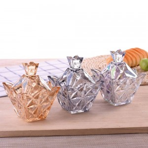 Variety of colorful diamonds glass Candy jar Round with lid storage candy box creative transparent sugar cans cube storage tank
