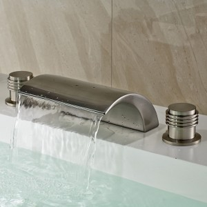 Victoria Classic Design Waterfall LED Deck-Mount Double Handle Roman Tub Filler Faucet Brushed Nickel / Oil Rubbed Bronze
