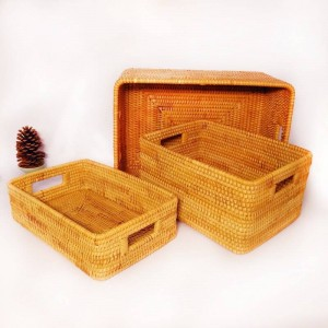 Vietnam rattan storage basket desktop coffee table clothing rattan woven storage box fruit snack basket storage box
