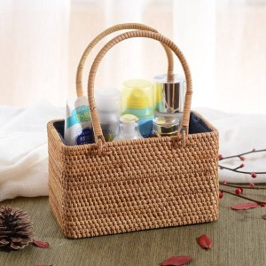 Vietnam rattan storage basket handmade rattan woven tea storage basket desktop storage basket hand