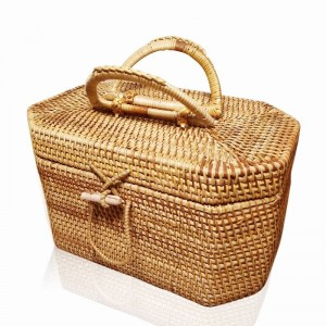 Vietnam rattan storage basket octagonal tea set storage box travel tea set tea point portable storage box factory direct sales