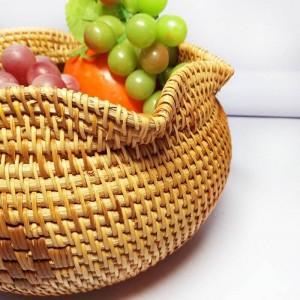 Vietnam rattan tea point box handmade fruit basket dried fruit plate snack basket home storage basket creative desktop storage b