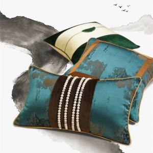 Villa Hotel Cushion Cover Deep Green Stripe Pillow Cover Luxury Housse De Coussin Beaded Design Cojines Decorativos Para Sofa