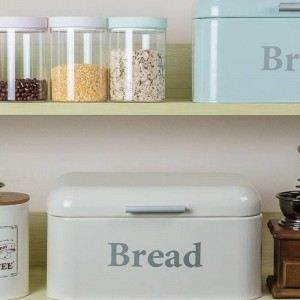 Vintage Bread Box Cupboard Iron Snack Box Desktop Finishing Dust-proof Storage Box Storage Bin Keeper Food Kitchen Shelf Decor