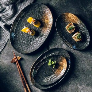 Vintage ceramic 7/8/9/10 inch plate oval shape dessert plate snack plate cake plate decorative cutlery set