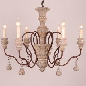 Vintage Cottage 6-Light Distressed Wood Carved Candle Style Antique Chandelier Metal Rust