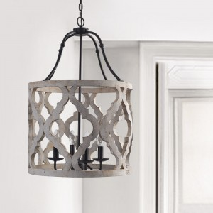 Vintage Distressed White Carved Wood 4-Light Lantern Farmhouse Chandelier in Rust